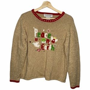 Vintage Christmas Embellished Knit Sweater Sz L